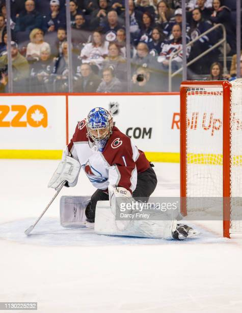 Goaltender Semyon Varlamov of the Colorado Avalanche guards the net during first period action against the Winnipeg Jets at the Bell MTS Place on...
