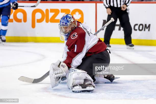 Goaltender Semyon Varlamov of the Colorado Avalanche makes a pad save during first period action against the Winnipeg Jets at the Bell MTS Place on...