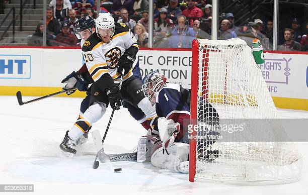 Goaltender Semyon Varlamov of the Colorado Avalanche makes a save against Riley Nash of the Boston Bruins at the Pepsi Center on November 13, 2016 in...