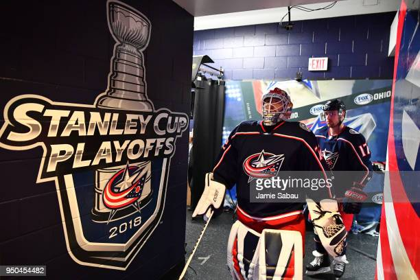 Goaltender Sergei Bobrovsky and Brandon Dubinsky of the Columbus Blue Jackets take the ice for pregame warmups prior to Game Six of the Eastern...