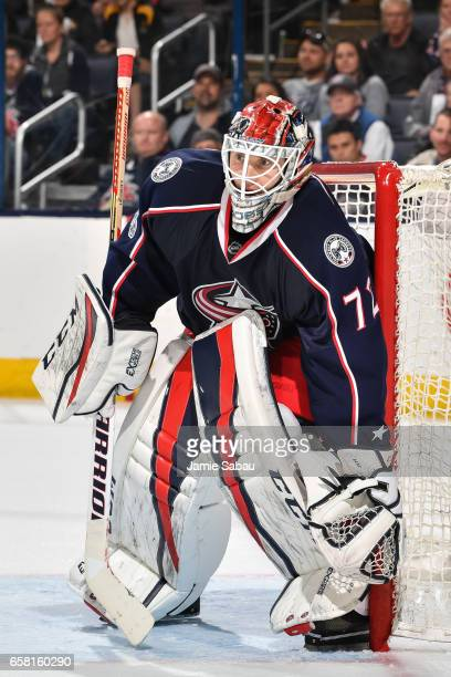 Goaltender Sergei Bobrovsky of the Columbus Blue Jackets defends the net against the Philadelphia Flyers on March 25 2017 at Nationwide Arena in...