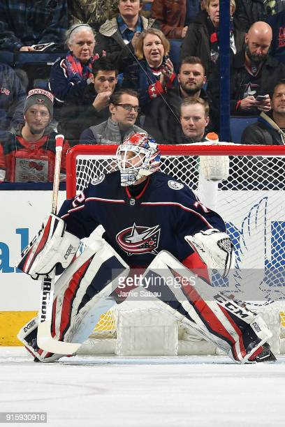 Goaltender Sergei Bobrovsky of the Columbus Blue Jackets defends the net against the Washington Capitals on February 6 2018 at Nationwide Arena in...
