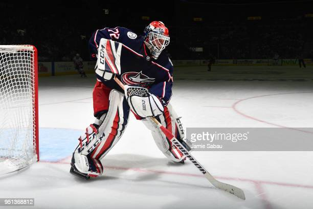 Goaltender Sergei Bobrovsky of the Columbus Blue Jackets defends the net against the Washington Capitals in Game Six of the Eastern Conference First...