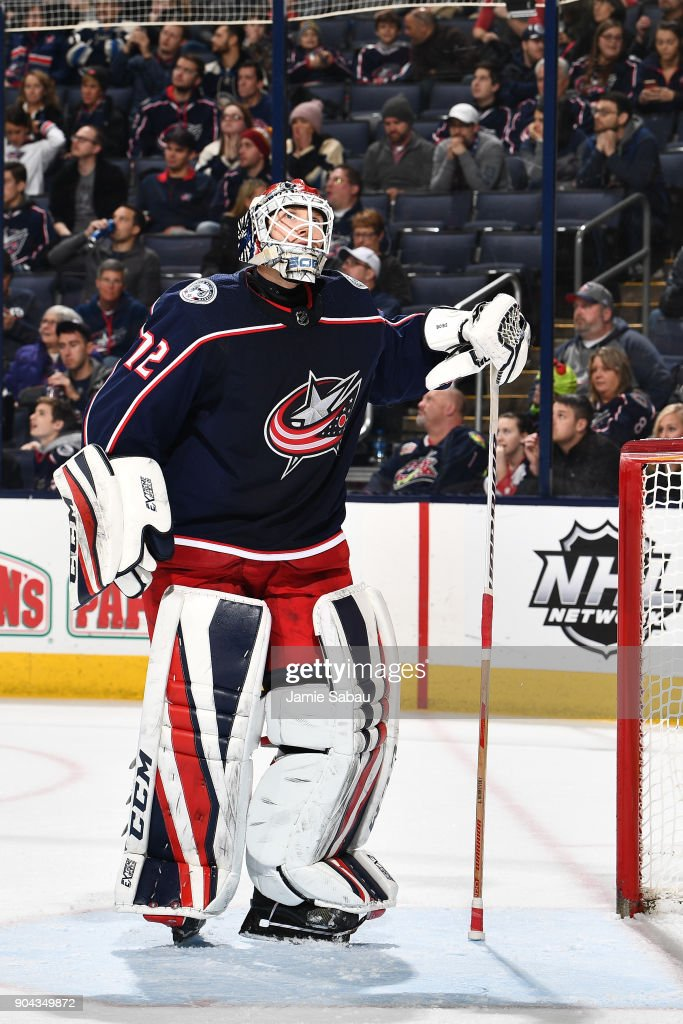 Goaltender Sergei Bobrovsky #72 of the Columbus Blue Jackets reacts after letting in a multiple goals during the second period of a game against the Vancouver Canucks on January 12, 2018 at Nationwide Arena in Columbus, Ohio.