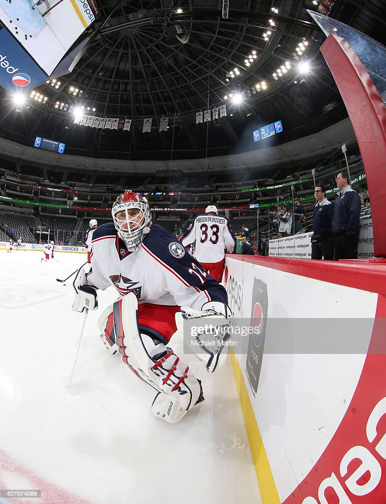 Goaltender Sergei Bobrovsky #72 of the Columbus Blue Jackets skates during warm ups, prior to the game against the Colorado Avalanche at the Pepsi Center on December 01, 2016 in Denver, Colorado.