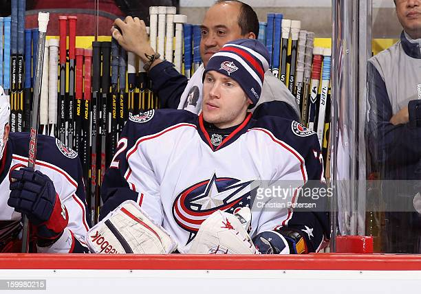 Goaltender Sergei Bobrovsky of the Columbus Blue Jackets watches from the bench during the NHL game against the Phoenix Coyotes at Jobingcom Arena on...