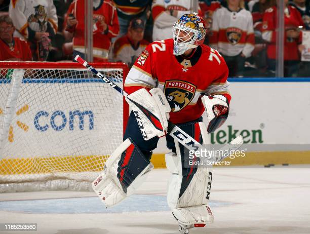 Goaltender Sergei Bobrovsky of the Florida Panthers on the ice for warm ups prior to the start of the game against the Detroit Red Wings at the BB&T...