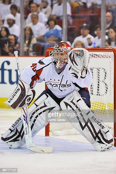 Goaltender Simeon Varlamov of the Washington Capitals guards the net against the Pittsburgh Penguins during Game Three of the Eastern Conference...