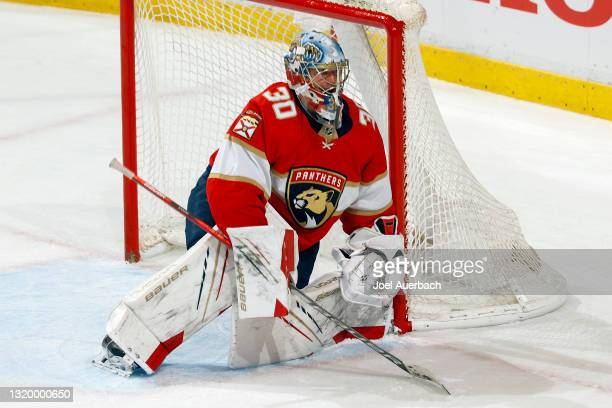 Goaltender Spencer Knight of the Florida Panthers defends the net against the Tampa Bay Lightning in Game Five of the First Round of the 2021 Stanley...