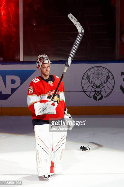 Goaltender Spencer Knight of the Florida Panthers is awarded the first star of the game after the 4-1 victory against the Tampa Bay Lightning in Game...