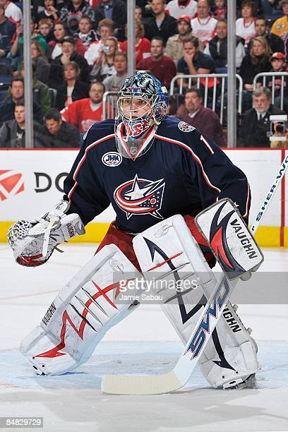 Goaltender Steve Mason of the Columbus Blue Jackets guards the net against the Detroit Red Wings on February 13, 2009 at Nationwide Arena in...