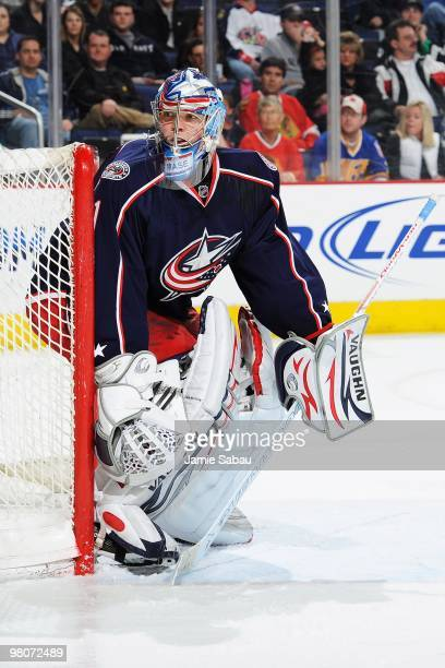 Goaltender Steve Mason of the Columbus Blue Jackets guards the net against the Chicago Blackhawks on March 25 2010 at Nationwide Arena in Columbus...