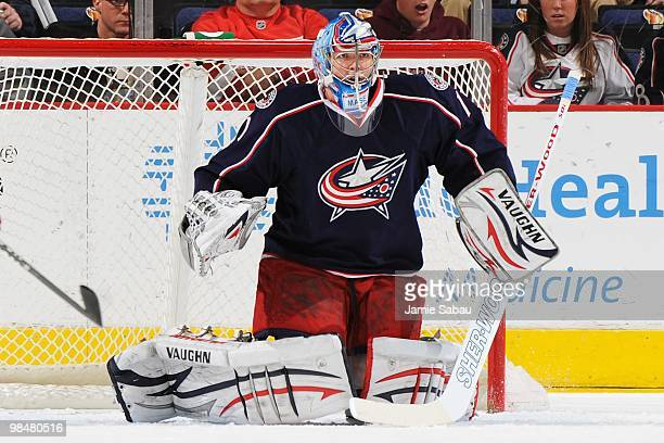 Goaltender Steve Mason of the Columbus Blue Jackets guards the net against the Detroit Red Wings on April 9, 2010 at Nationwide Arena in Columbus,...