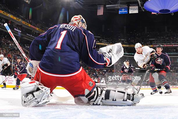 Goaltender Steve Mason of the Columbus Blue Jackets makes a save on a shot from Bobby Ryan of the Anaheim Ducks on January 25 2011 at Nationwide...