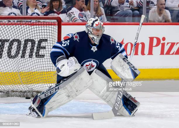Goaltender Steve Mason of the Winnipeg Jets takes part in the pregame warm up prior to NHL action against the Vegas Golden Knights in Game One of the...
