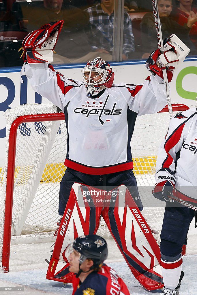 Goaltender Tomas Vokoun #29 of the Washington Capitals celebrates their 2-1 win over the Florida Panthers at the BankAtlantic Center on February 17, 2012 in Sunrise, Florida.