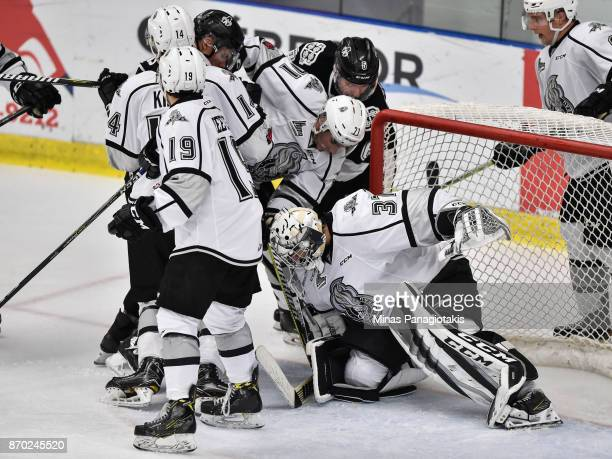 Goaltender Tristan Berube of the Gatineau Olympiques protects his net against the BlainvilleBoisbriand Armada during the QMJHL game at Centre...