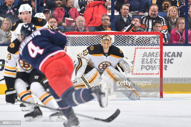 Goaltender Tuukka Rask of the Boston Bruins follows a shot taken by Scott Harrington of the Columbus Blue Jackets during the second period of a game...