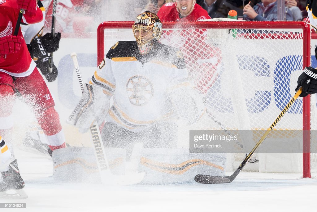 Goaltender Tuukka Rask #40 of the Boston Bruins follows the play during an NHL game against the Detroit Red Wings at Little Caesars Arena on February 6, 2018 in Detroit, Michigan. The Bruins defeated the Wings 3-2.