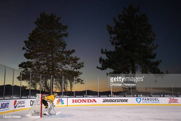 Goaltender Tuukka Rask of the Boston Bruins in action during the second period of the 'NHL Outdoors At Lake Tahoe' against the Philadelphia Flyers at...