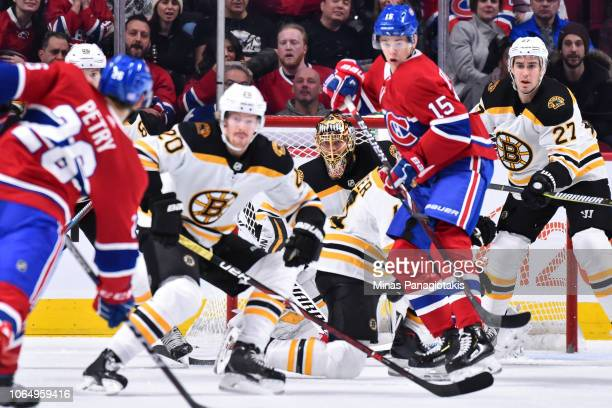 Goaltender Tuukka Rask of the Boston Bruins remains focused as he protects his net against the Montreal Canadiens during the NHL game at the Bell...