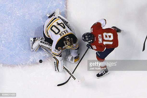 Goaltender Tuukka Rask of the Boston Bruins stops the shot by Aleksander Barkov of the Florida Panthers at the BBT Center on December 22 2016 in...
