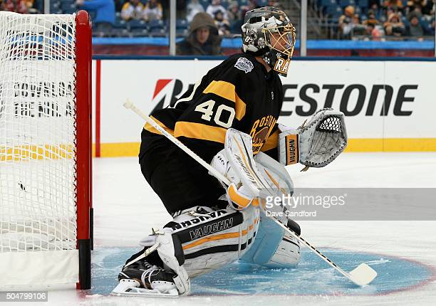 Goaltender Tuukka Rask of the Boston Bruins warms up before the 2016 Bridgestone NHL Winter Classic against the Montreal Canadiens at Gillette...