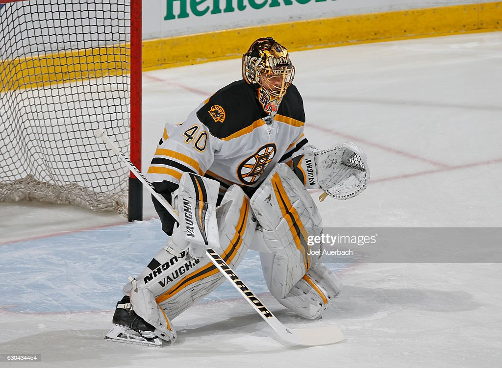 Goaltender Tuukka Rask #40 of the Boston Bruins warms up prior to the game against the Florida Panthers at the BB&T Center on December 22, 2016 in Sunrise, Florida.