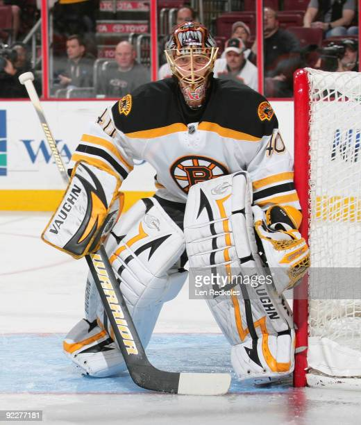 Goaltender Tuukka Rask of the Boston Bruins watches the play develop against the Philadelphia Flyers on October 22 2009 at the Wachovia Center in...