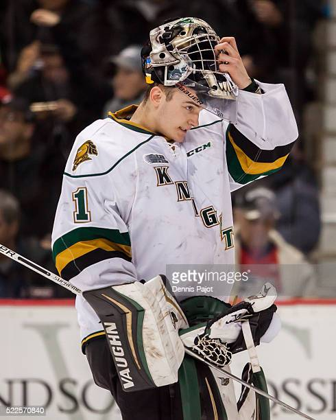 Goaltender Tyler Parsons of the London Knights skates against the Windsor Spitfires on January 30 2016 at the WFCU Centre in Windsor Ontario Canada