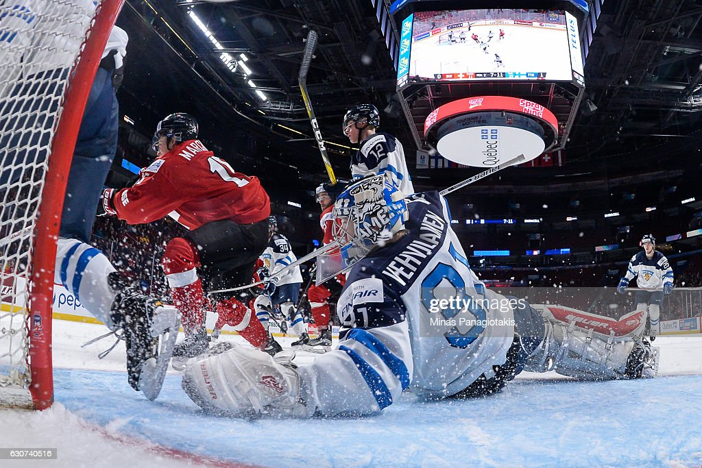 Goaltender Veini Vehvilainen #31 of Team Finland protects his net during the 2017 IIHF World Junior Championship preliminary round game against Team Switzerland at the Bell Centre on December 31, 2016 in Montreal, Quebec, Canada. Team Finland defeated Team Switzerland 2-0.