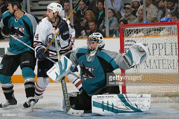 Goaltender Vesa Toskala of the San Jose Sharks defends a shot during Game 2 of the Western Conference Semifinals against the Edmonton Oilers on May...
