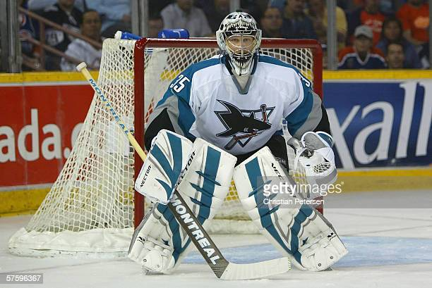 Goaltender Vesa Toskala of the San Jose Sharks in action against the Edmonton Oilers in game three of the Western Conference Semifinals at Rexall...
