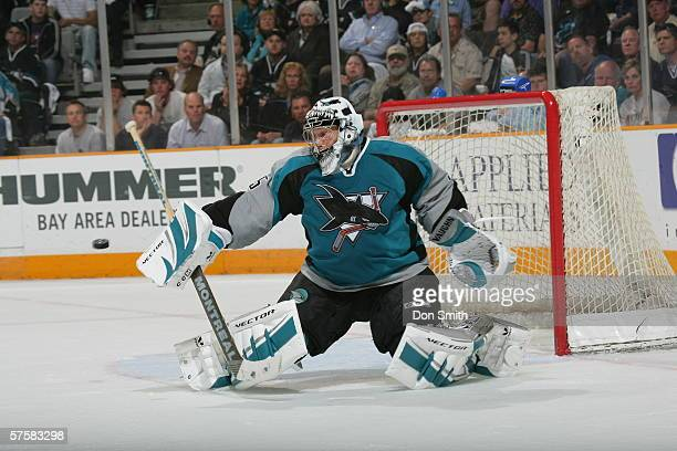 Goaltender Vesa Toskala of the San Jose Sharks stops the puck the puck during Game 2 of the Western Conference Semifinals against the Edmonton Oilers...