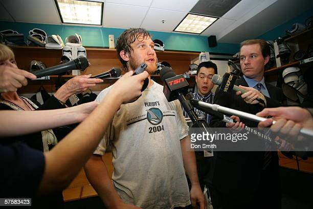 Goaltender Vesa Toskala of the San Jose Sharks talks with the media following Game 2 of the Western Conference Semifinals against the Edmonton Oilers...