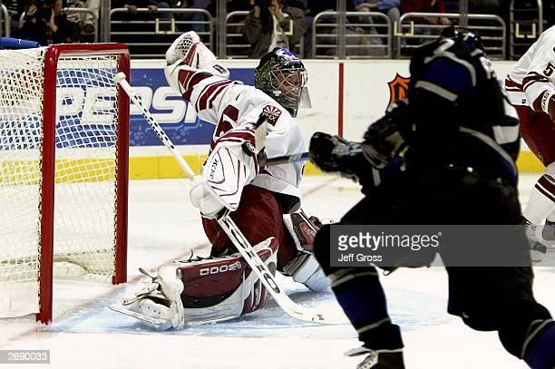 Goaltender Zac Bierk of the Phoenix Coyotes gives up a goal to Derek Armstrong of the Los Angeles Kings during the second period of their game on...