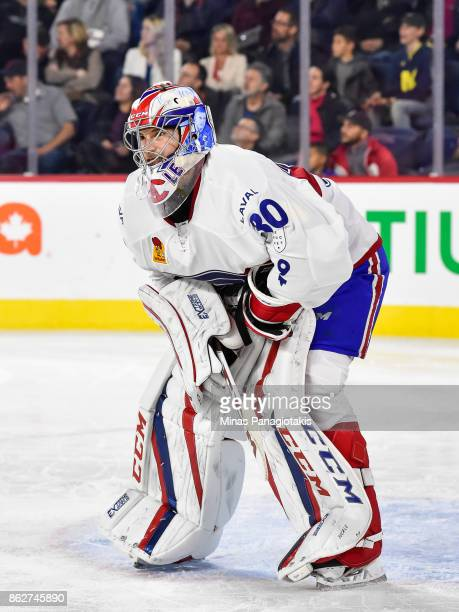 Goaltender Zachary Fucale of the Laval Rocket remains focused against the Binghamton Devils during the AHL game at Place Bell on October 13 2017 in...