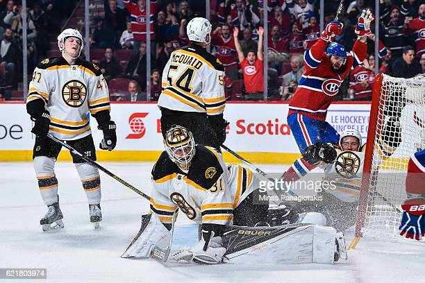 Goaltender Zane McIntyre of the Boston Bruins allows a goal in the second period during the NHL game against the Montreal Canadiens at the Bell...