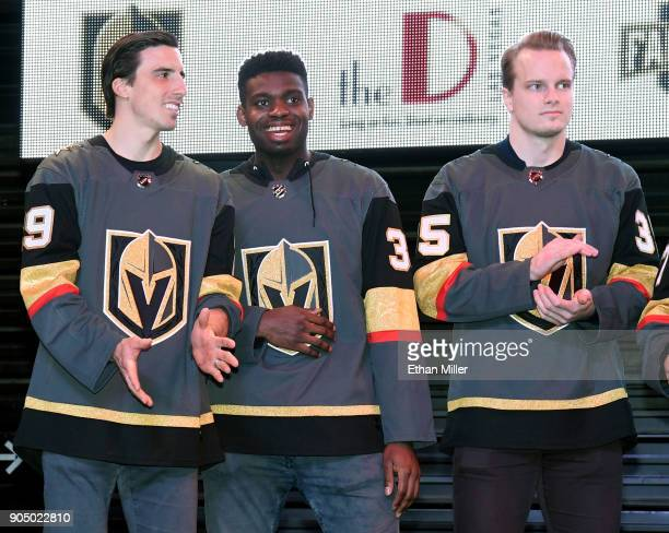 Goaltenders MarcAndre Fleury Malcolm Subban and Oscar Dansk of the Vegas Golden Knights attend the Vegas Golden Knights Fan Fest at the Fremont...