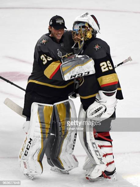 Goaltenders Maxime Lagace and MarcAndre Fleury of the Vegas Golden Knights celebrate their 64 win over the Washington Capitals in Game One of the...