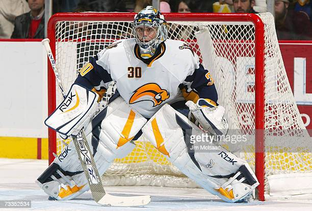 Goaltendr Ryan Miller of the Buffalo Sabres defends his net against the New Jersey Devils during their game on February 3, 2007 at Continental...