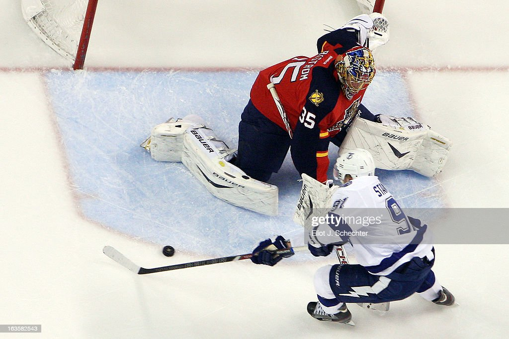 Goaltenter Jacob Markstrom #35 of the Florida Panthers defends the net against Steven Stamkos #91 of the Tampa Bay Lightning at the BB&T Center on March 12, 2013 in Sunrise, Florida.