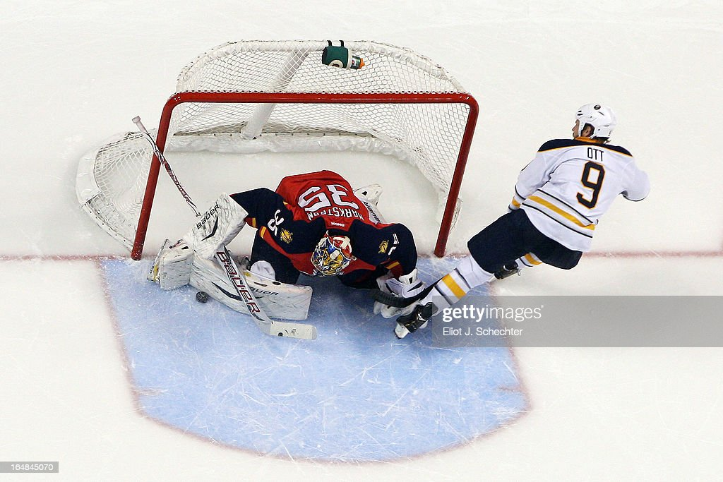 Goaltenter Jacob Markstrom #35 of the Florida Panthers makes a save against Steve Ott #9 of the Buffalo Sabres in a shoot out at the BB&T Center on March 28, 2013 in Sunrise, Florida.