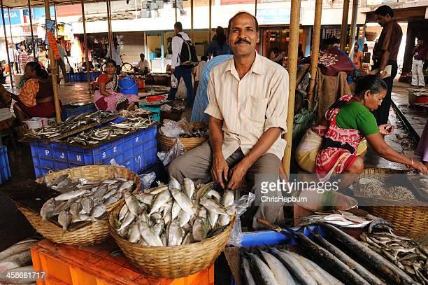 goan market seller - panjim stock photos and pictures