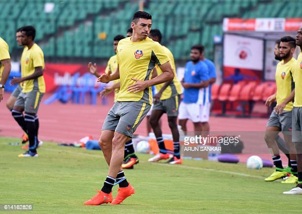 FC Goa's defender Lucio takes part in a practice session at the Jwaharlal Nehru Athletic Stadium in Chennai on October 12 ahead of the Indian Super...