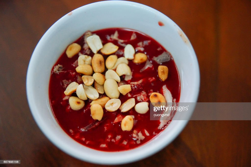 Goat blood pudding - tiet canh : Stock Photo