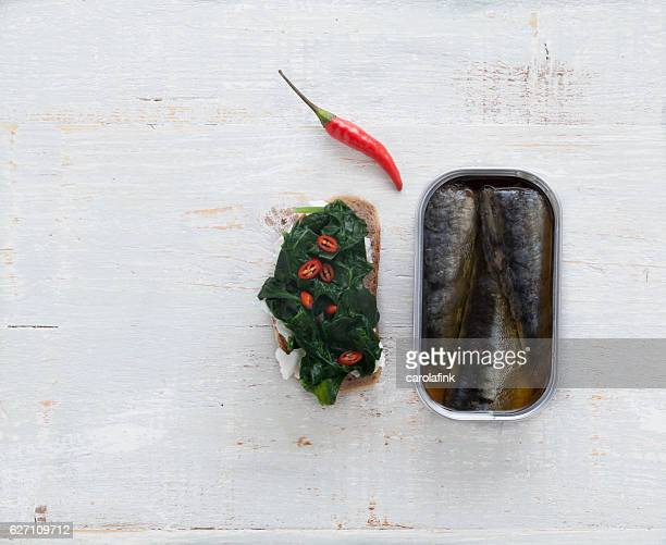 goat cheese canapé with sardines - carolafink stockfoto's en -beelden