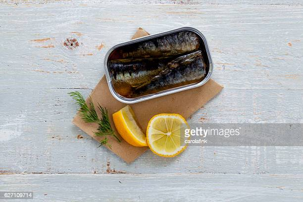 Goat cheese canapé with sardines