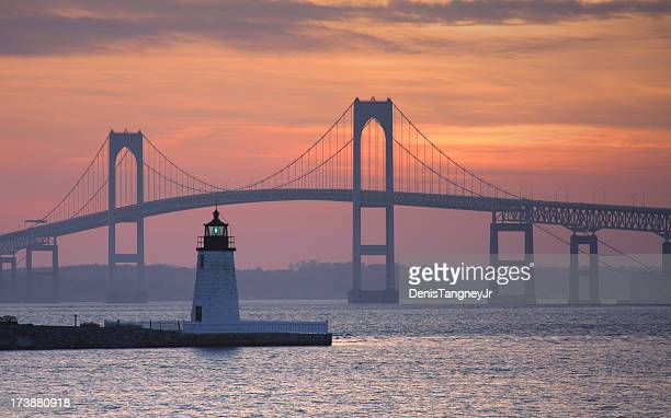 goat island lighthouse in newport - atlantic ocean stock pictures, royalty-free photos & images