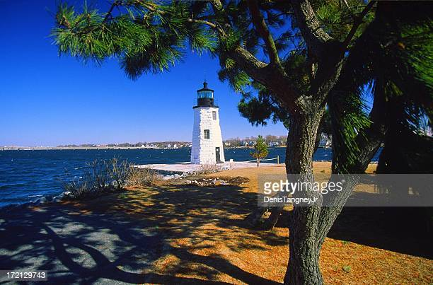 goat island lighthouse - newport rhode island stock pictures, royalty-free photos & images
